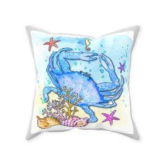 Watercolor Maryland Crab Throw Pillow - Spun Polyester