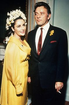 and the bride wore yellow. Elizabeth Taylor was beaming in her now iconic yellow chiffon gown when she married fellow actor Richard Burton in in Montreal, Canada at the Ritz-Carlton Hotel.