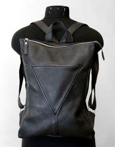 Minimal Leather Backpack  Unisex Laptop Bag  от LeonidTitowLab