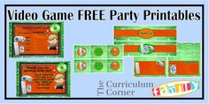Freebie video game party printables - great for a video game truck party or any other boy party!  Includes invite, thank you card, circles, water bottle labels and treat toppers.  All FREE from www.thecurriculumcornerfamily.com & Spencerville Junction.
