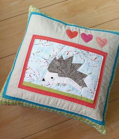 Hedgehog paper pieced pillow    Avery's Valentines pillow by Spotted Stone Studio {Krista}, via Flickr