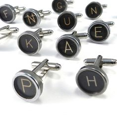 Cool typewriter key cuff links (via http://www.compassrosedesignjewelry.com/)