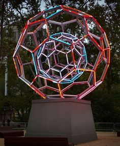 Leo Villareal's light sculpture, Buckyball, in New York City's Madison Square Park.