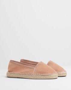 Pull&Bear - zapatos - · novedades - esparteña piel serraje - maquillaje - 15005311-I2014