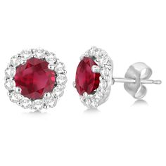Allurez Halo Diamond Accented and Ruby Earrings 14K White Gold... ($2,115) ❤ liked on Polyvore featuring jewelry, earrings, white gold stud earrings, 14 karat gold jewelry, 14k stud earrings, white gold earrings and ruby stud earrings