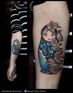 matrushka by redtrujillo.deviantart.com on @DeviantArt Tattoo Dotwork, 1 Tattoo, Henna, Pretty Tattoos, Beautiful Tattoos, Traditional Ukrainian Tattoo, Babushka Tattoo, Russian Doll Tattoo, Nesting Doll Tattoo
