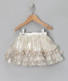 Silver shimmer ruffle skirt