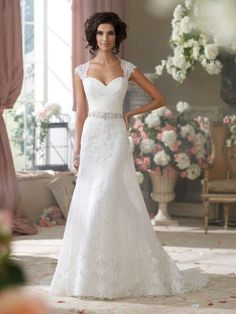 David Tutera - Chantilly and corded lace, tulle and organza over luxurious satin slim A-line cage wedding dress with lace cap sleeves, tulle and lace appliqued deep Queen Anne neckline, sweetheart bod