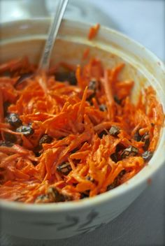 Classic Carrot Salad-my husband's favorite minus the onion powder, salt and pepper and adding chopped apple! Fantastic!