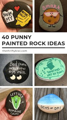 40 Punny Painted Rocks Just for Pun Funny Ideas to Try – Painted rock animals – Christmas painting – Best Crafts Rock Painting Patterns, Rock Painting Ideas Easy, Rock Painting Designs, Paint Designs, Pebble Painting, Pebble Art, Stone Painting, Diy Painting, Shell Painting
