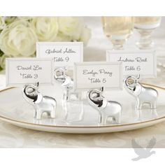 Silver Elephant Place Card Holder