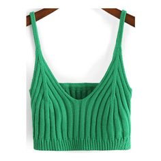 SheIn(sheinside) Green Spaghetti Strap Crop Cami Top (51 MYR) ❤ liked on Polyvore featuring tops, green, cami tank tops, green top, green tank, green crop top and cropped camisole