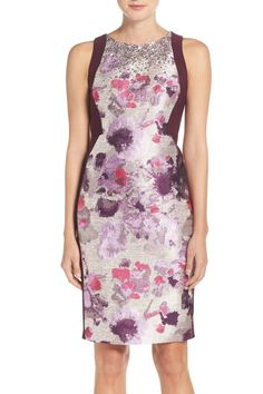 Embellished Jacquard & Jersey Sheath Dress by Adrianna Papell on @nordstrom_rack