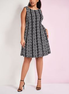Graphic Print Fit & Flare Dress