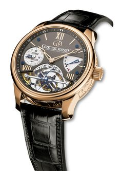 DT30° Vision: 5N red gold case with gilded black dial. The Double Tourbillon 30° Vision features an open dial allowing the invention to be viewed and appreciated to the full. For more information, please visit: http://www.greubelforsey.com/DT30_vision.asp