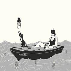- Nowhere in particular - #black #shark #blackandwhite #illustration #girl #halloween #octopus #ghost #cat #abimalcarino