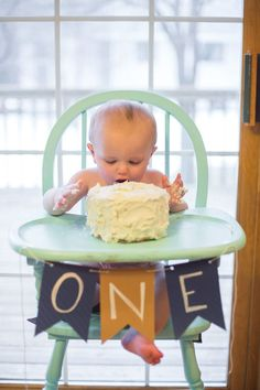 Baby boy's first birthday buttercream smash cake, diy banner, painted high chair
