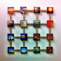 wooden square frame with mobile moments - wall decoration - smartphone photography. More information here: http://www.mobile-momente.de/orte.htm