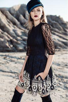 Black lace & embroidery midi dress