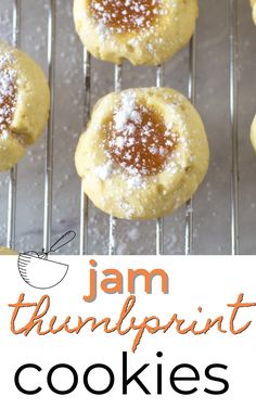 Jam thumbprint cookies are a Christmas tradition! In this easy recipe buttery shortbread dough is filled with sweet jam and sprinkled with powdered sugar for a delicious holiday cookie. Brighten up your Christmas cookie platter with these colorful jam cookies, just like grandma used to make! Jam Thumbprint Cookies, Jam Cookies, Roll Cookies, Yummy Cookies, Cupcake Cookies, Yummy Treats, Cupcakes, Holiday Cookies, Shortbread