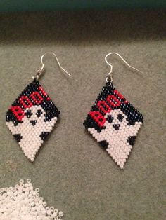 Halloween earrings Boo earrings Delica bead by thisnthat03 on Etsy