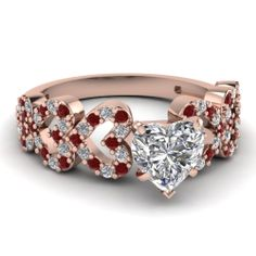 Heart Shaped Diamond Engagement Rings With Red Ruby In 14k White Gold | Linked Heart Ring | Fascinating Diamonds