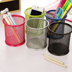 1 Pcs Muti Colors Office Organizer Round Cosmetic Pencil Pen Holders Stationery Container Office Supplies