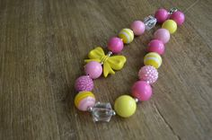 Pink Lemonade Chunky Necklace - Birthday Chunky Necklace- Girls Bubble Gum Necklace- Cake Smash by CreativeAvenue7 on Etsy https://www.etsy.com/listing/238093508/pink-lemonade-chunky-necklace-birthday