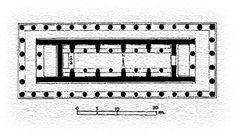 ** PLANTA DEL TEMPLOS DE HERA, en Olympia, hacia 600 a.C. - El templo DÓRICO más antiguo y destacado en la Grecia Continental. Edificio IN ANTIS, PERÍPTERO (columnas por los 4 lados) y HEXÁSTILO (número soporte ante ambas fachadas, son 6). División TRIPARTITA (pronaos, cella y opistodomos). En el interior columnas agrupadas en 2 filas, fueron en su inicio de madera y se reemplazaron segun se deterioraban con piedra.