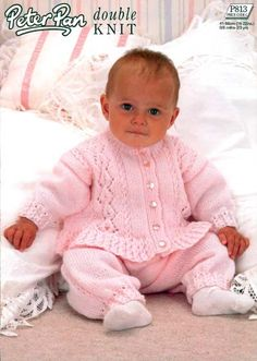 the online pattern store Baby Cardigan Knitting Pattern, Knitted Baby Cardigan, Baby Knitting Patterns, Free Knitting, Baby Girl Patterns, Baby Layette, Baby Pants, Sweater Set, Vintage Knitting