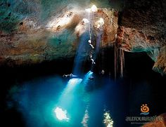 """Mexico has a special name for those kind of places: """"cenote"""" -taken from Mayan language word for a well. some Cenotes were a sacred, Young men and women were thrown and left to drown there,as a sacrifice to the god of rain)"""
