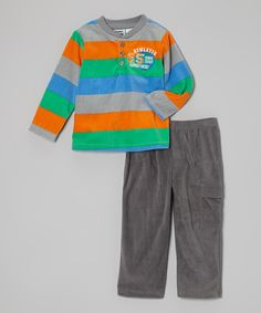 Look at this #zulilyfind! Peanut Buttons Gray & Orange 'Athletic Department' Henley & Pants - Infant by Peanut Buttons #zulilyfinds
