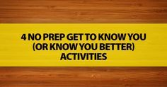 Whether it is the first day of class or you have been teaching the same group of students for a while, get to know you activities are a favorite. For new classes, they help students begin fr