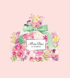 Miss Dior Perfume, illustration aquarelle florale, 21 x 21 cm impression par mbaileyillustrations sur Etsy https://www.etsy.com/fr/listing/266434321/miss-dior-perfume-illustration-aquarelle