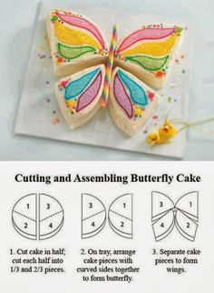 butterfly cake design - perfect for a little girl's birthday Butterfly Birthday Cakes, Butterfly Cakes, Butterfly Party, Simple Butterfly, Butterflies, Butterfly Shape, Cake Birthday, Butterfly Cake Template, Butterfly Kids