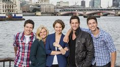 Home and very much Away ... Actors Steve Peacocke, Bonnie Sveen, Lisa Gormley, Dan Ewing  in London