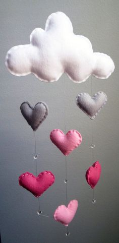 Handmade shades of Pink Cloud Mobile with Heart Raindrops and Crystal Glass Beads. Beautiful modern baby nursery decor. TheWhiteBirchTree on Etsy