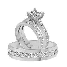 3.66Ct Princess Cut Engagement Ring w/ Matching Band In 925 or 10k or 14k Gold #AffinityFashionJewelry
