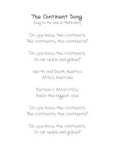 Students Will Love Learning The Names Of The Continents With This Fun Song.  Use As