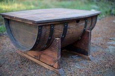 Wine Barrel Coffee Table on Etsy, $550.00