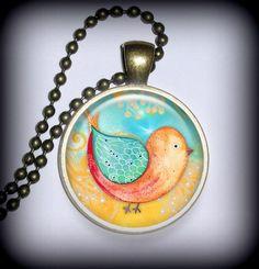 Sweet Birdie Pendant Charm, Necklace Pendant, Resin Pendant, Art Penda | TwistedTrinkets - Jewelry on ArtFire