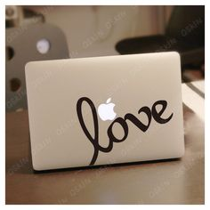 LOVE- Decal laptop Stickers macbook decal macbook pro decal macbook... ($8.99) ❤ liked on Polyvore