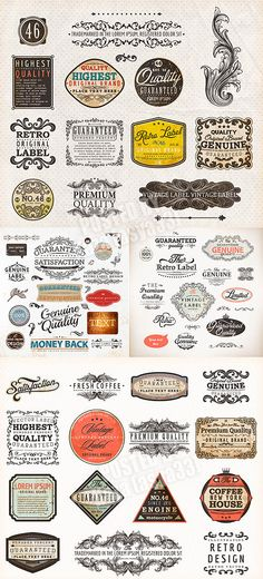Vintage labels elements. There is so much design here to inspire!