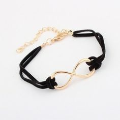 Simple Funny Metal Bow Black Leather Charm Bracelets