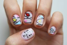cute nails birds