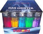 50 Neon Premium Disposable Butane Gas Lighters