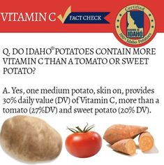 CHECK 👏THIS 👏OUT!👏  • • • Photo Courtesy of Famous Idaho Potatoes Potato Nutrition, Idaho Potatoes, Vitamin C, Sweet Potato, Facts, Check, Food, Meals, Yemek