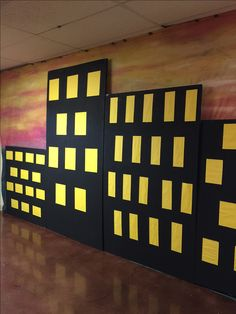 Create a wall display like this one using foam core, paints and yellow construction paper! Your Heroes will be empowered as they walk through these halls! cokesburyvbs.com