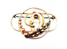 Round Wire Circle & Oblong Brooch - Signed w Carl Art Hallmark - Pearl Accent with Leaves - Art Deco Style Pin - Marked 1/20th 12K GF 1940s