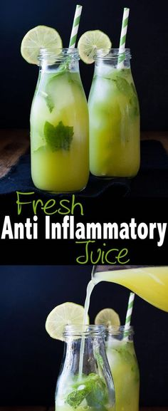 In an anti-inflammatory diet, we primarily move away from the overly processed, unbalanced diets of the West and toward the ancient eating patterns. Here are the best anti-inflammatory foods on the planet. Healthy Juice Recipes, Healthy Detox, Healthy Juices, Healthy Smoothies, Healthy Drinks, Smoothie Recipes, Diet Recipes, Easy Detox, Vegetable Smoothies
